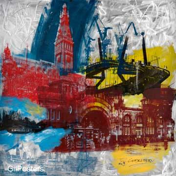 המגדל הגבוה- אנגליהצבעוני מודרני  כתמי צבע מכוניות רחוב עיר מגדל עתיק אדריכלות