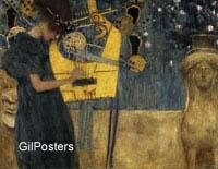 גוסטב קלימט - המוזיקהאשה נגינה נגנית נבל עדינה יופי זהב