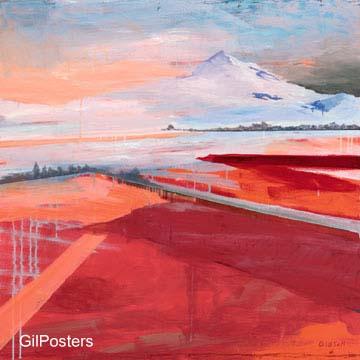 נוף באדוםהר לבן אדום כביש דרך ציור תמונה