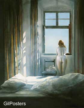 אישה בחלון מול שמש של בוקרדמות מעורטלת ערום סקסי יופי כחול