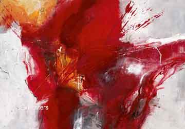 זריחה 1מופשט אדום לבן אפור אבסטרקטי מודרני כתם צבע כתמים
