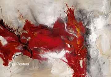 זריחה 2מופשט אדום לבן אפור אבסטרקטי מודרני כתם צבע כתמים
