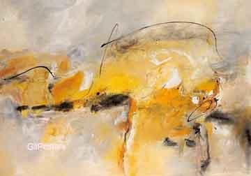 הבזק אור 1מופשט צהוב  לבן אפור אבסטרקטי מודרני עדין דקורטיבי כתמים
