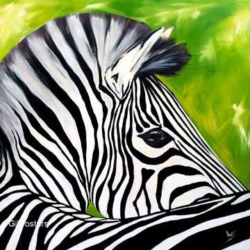 הזברה אוסוולדפסים שחור לבן פרצוף  מצויר חיה דקורציה