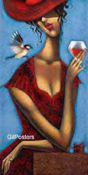 אישה עם כוס יין אשה דוגמנית אתנית עיצוב חדר שינה ליידי גברת