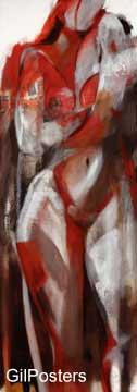 עירום באדום 1 אישה גוף רגליים סקסי רישום ציורים_עירום