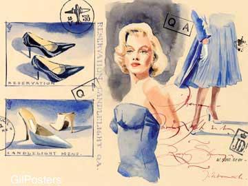 שימור פנים דקורציה עיצוב מודרני פרחוני פיגורטיבי צבע כחול וינטג כרזה רטרו
