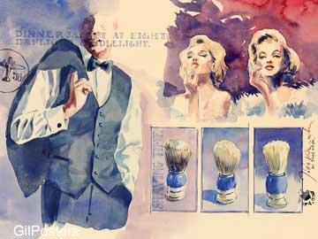 פנים דקורציה עיצוב מודרני פרחוני פיגורטיבי צבע כחול וינטג כרזה רטרו