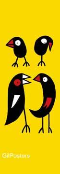 בואו נדבר על זהציפור מקור נאיבי ילדותי נשיקה הומור צהוב