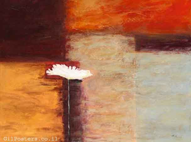 פרח לבן 2פרח כתום מופשט דקורטיבי ריבוע גיבעול