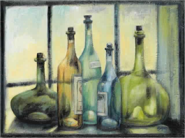 בקבוקים על יד החלוןאגרטל כחול שולחן לבן עיצוב בקבוקים שקופים