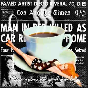 את כל הקפה שלך בבקשהבחורה אישה כוס מטבח דקורטיבי