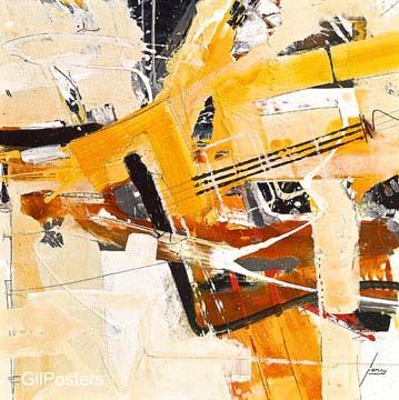 יום של שמשצהוב כתום דקורציה צבע  מודרני שחור לבן גרפיקה קווים מופשט