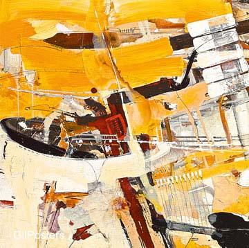 אבסטרקטצהוב כתום דקורציה צבע  מודרני שחור לבן גרפיקה קווים מופשט