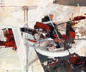 אדום צבע  מודרני שחור לבן גרפיקה קווים מופשט דקורציה