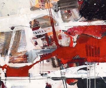 אדום לבן שחור 3אדום צבע  מודרני שחור לבן גרפיקה קווים מופשט דקורציה