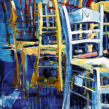 משחק הכיסאות 1רהיט ריהוט דקורציה קישוט חדר אוכל סלון ציור מודרני מופשט צבעוני כחול