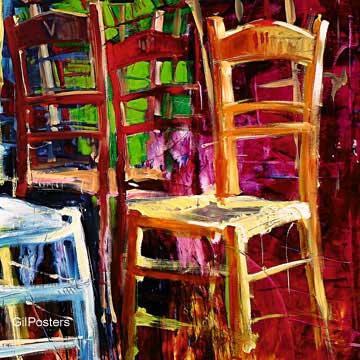 משחק הכיסאות 2רהיט ריהוט דקורציה קישוט חדר אוכל סלון ציור מודרני מופשט צבעוני כחול