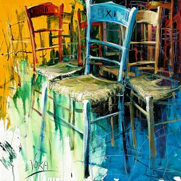 משחק הכיסאות 3רהיט ריהוט דקורציה קישוט חדר אוכל סלון ציור מודרני מופשט צבעוני כחול