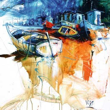 ביםסירות חוף נוף דקורציה קישוט חדר אוכל סלון ציור מודרני מופשט צבעוני כחול