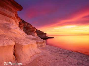 טבע אבנים חוף פסטורלי כתום שקיעה נוף