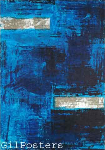 כחול וכסףריבוע כחולים לבן כסוף פסים מודרני כתם צבע