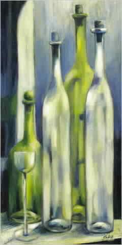 בקבוקים שקופים  אגרטל כחול שולחן לבן עיצוב ירוק אבסטרקט