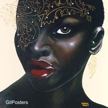 יופי 1אשה שמחה דקורציה עיצוב בנות כושי מודרני שחור