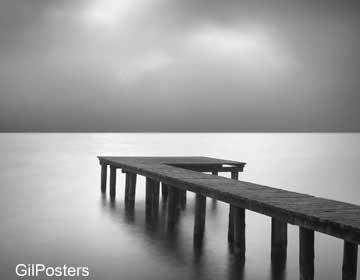 שחור לבן טבע גשר חוף פסטורלי  נוף ערפל