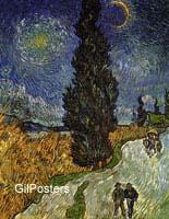 ואן גוך - נוףאימפרסיוניסטים שמש ירח עץ נוף אימפרסיוניסט