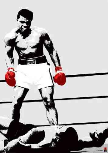 מוחמד עליאיגרוף האבקות זירה אליפות  כפפות אלופים ספורט ניצחון Muhammad Ali