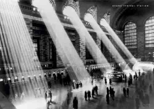 Grand Central Station וינטג' כרזה רחוב  ניו יורק שחור לבן אורות לילה