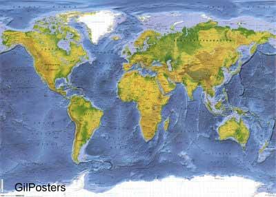מפת העולם פיזיתמפה עולם  עולמית