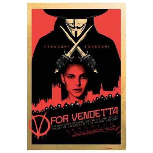 V For Vendettaסרט בנים מתח הרפתקאות בדיוני בידור צחוק ונדטה כרזה