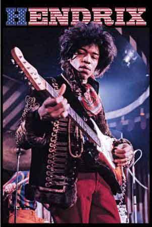 ג'ימי הנדרקיסמוסיקה רוק פופ להקה הופעה חיה Jimi Hendrix גימי גיטרה Stars & Stripes כוכבים