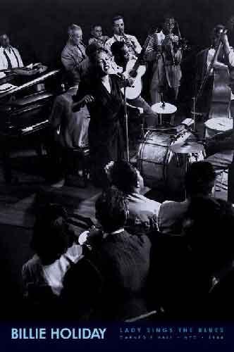 Billie Holidayמוסיקה רוק פופ להקה הופעה חיה שחור לבן ג'אז גאז גז זמרת בילי הולידיי