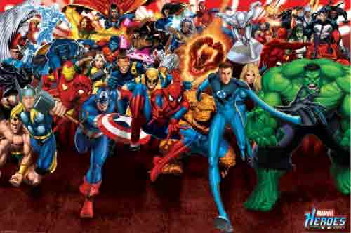 Marvel Heroesגיבורי על אנימציה הרפתקאות פוסטר לחדר ילדים בנים