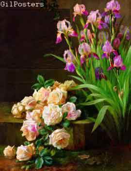 Still Life with Pink Roses and Iris