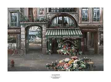 חנות הפרחים של דומיניקפריז פאריס פרובנס גוף עירוני פרחים רומנטי רחוב דוכן בית קפה מסעדה שמשיות צהובות