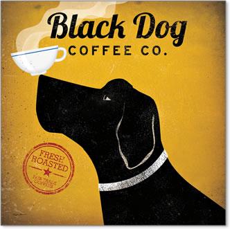 קפה כלב שחורכרזה, וינטג', כלב, קפה