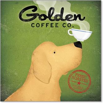 קפה כלב גולדןכרזה, וינטג', כלב, קפה