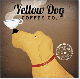 קפה כלב צהובכרזה, וינטג', כלב, קפה