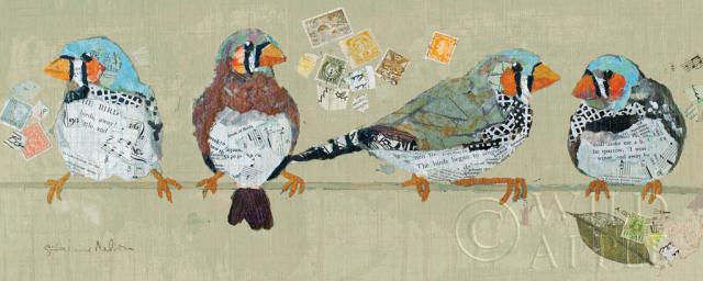 ציפורים על חבל 2 חיות ,תוכי,  ציפורים, ציפור, חבל, חוט, צפורים על חוט, כחול, בול , בולים, קולאז, נוצות,ציוץ ציפורים