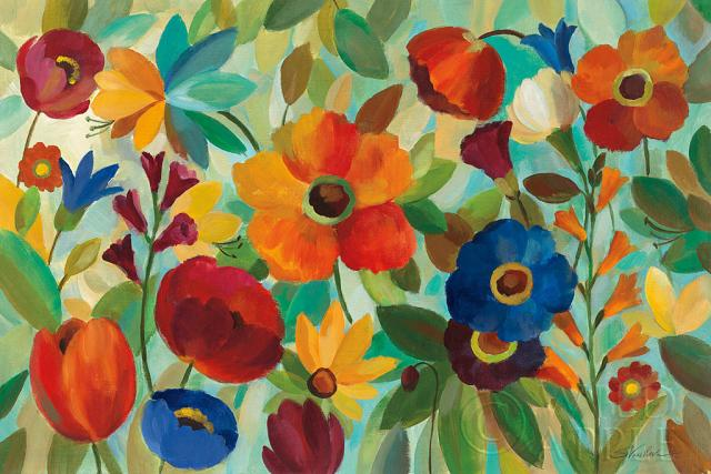 כחול, אדום , כתום, צבעוני, פרחים, שדה, פרח, עכשווי, צהוב, קיץ, אביב, אביבי