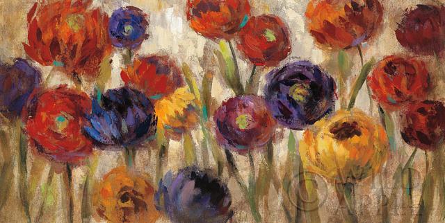 סביונים וחרציותשדה, פרחים , אביב, פריחה, פרח, כתום, אדום, ירוק, נוף, ציור