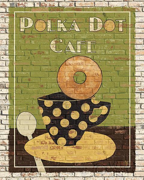 ספל קפה עם נקודות פולקהלבנים, חום, קפה, ספל קפה, קנקן קפה, סעודה, זהב, מטבח, אדום, שלט, תה, קנקן תה, מילים