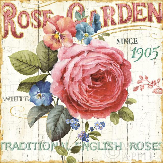 גינת ורדיםשלט, כחול, ירוק, חום, פרפרים, פרפר, קרם, פרחים, פרח, שושנה, ורד, גינה , זהב, אפור, ירוק, לוח עץ, וינטג', ישן, קישוטי, דקורטיבי, מילים, איור, רישום, מילים