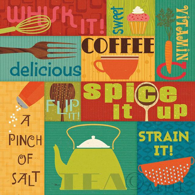 עשה במטבח! 2תמונות של מזון  תמונות של מזון תמונות של קפה  כחול, ירוק, צבעים, בוהק, מטבח, אוכל, כוסות, מאכלים, מזלג, גאומטרי, גריד, כתום, משפטים, רטרו, כפיות, תכלת, לבן,עגבניות