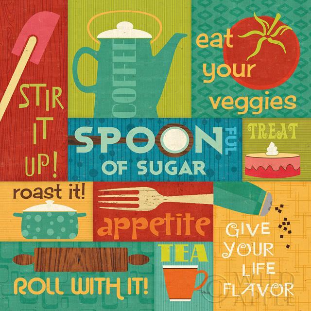 עשה במטבח! תמונות של מזון תמונות של קפה  כחול, ירוק, צבעים, בוהק, מטבח, אוכל, כוסות, מאכלים, מזלג, גאומטרי, גריד, כתום, משפטים, רטרו, כפיות, תכלת, לבן,עגבניות