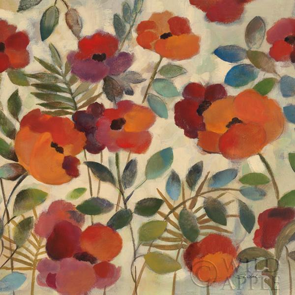 גינה באוגוסטאוגוסט, דקורטיבי, פרחוני, פרחים, גינה, גן, עלים, כתום, אדום , תכלת, כחול, פרח